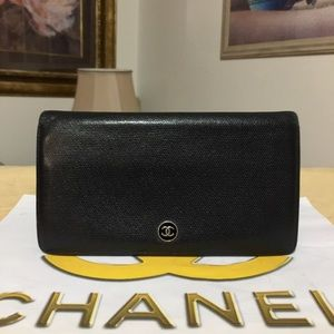 CHANEL CC Logo Black Leather Bifold Long Wallet